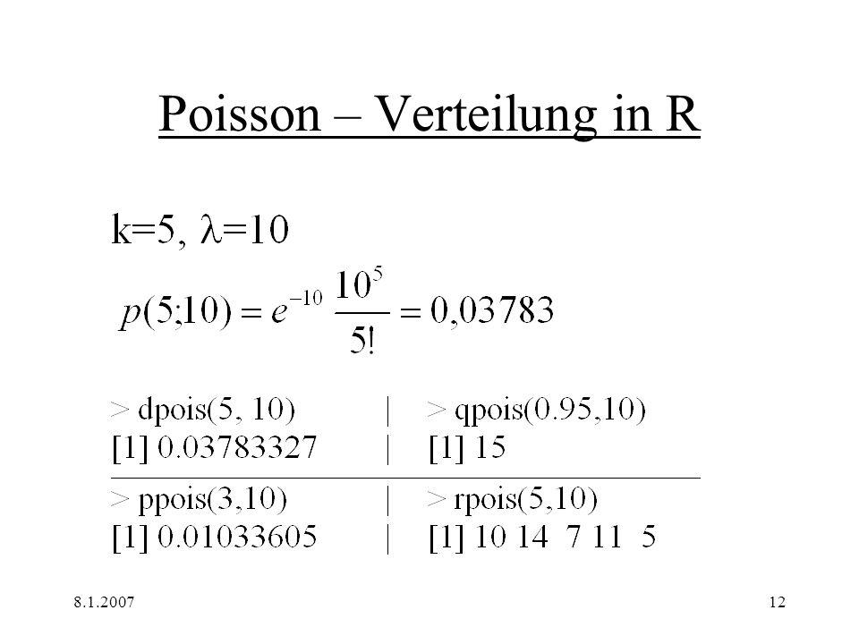 8.1.200712 Poisson – Verteilung in R