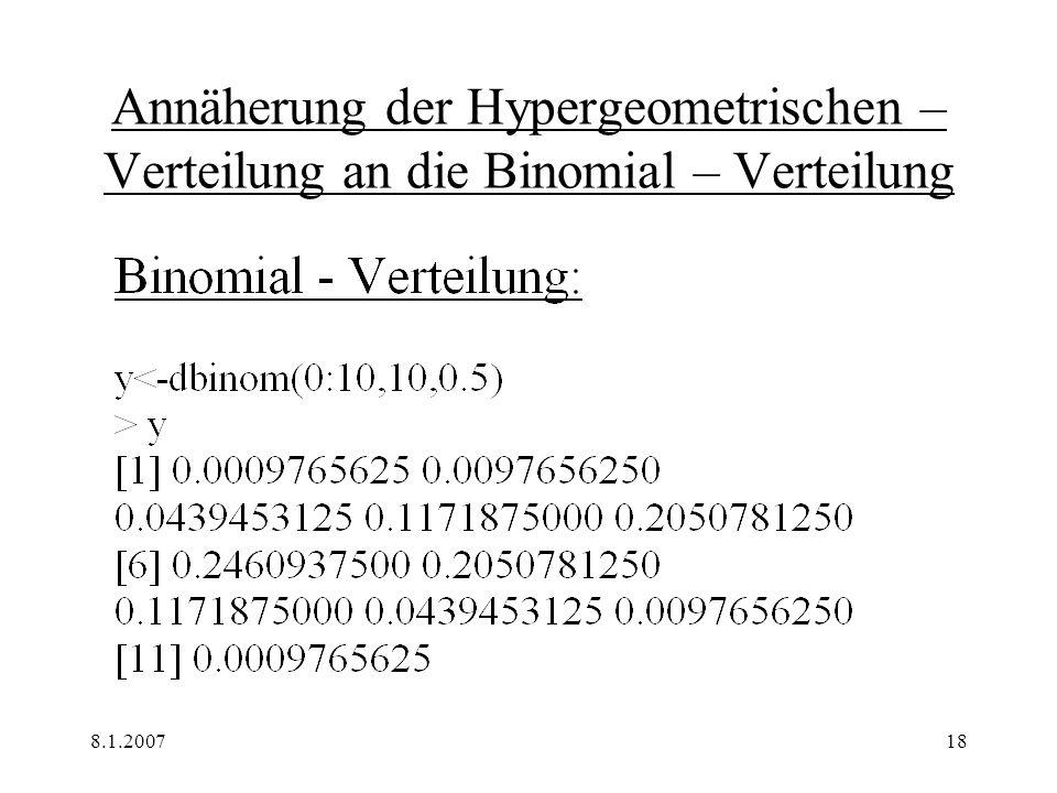 8.1.200718 Annäherung der Hypergeometrischen – Verteilung an die Binomial – Verteilung