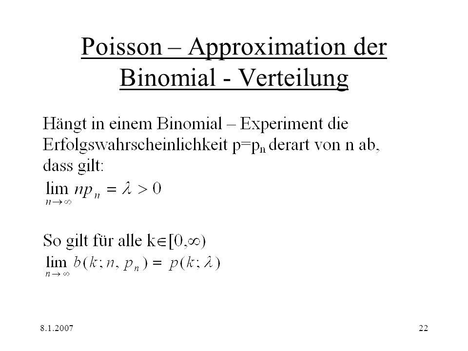 8.1.200722 Poisson – Approximation der Binomial - Verteilung