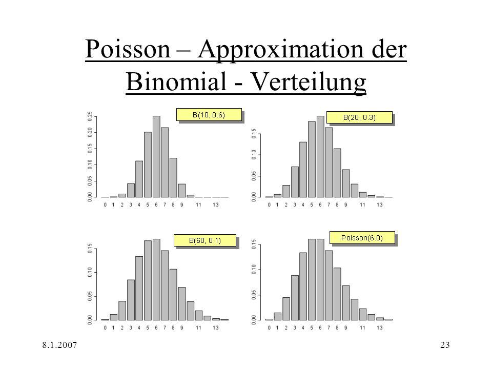 8.1.200723 Poisson – Approximation der Binomial - Verteilung