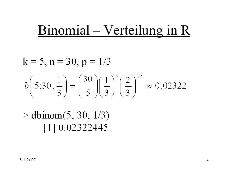 8.1.20074 Binomial – Verteilung in R