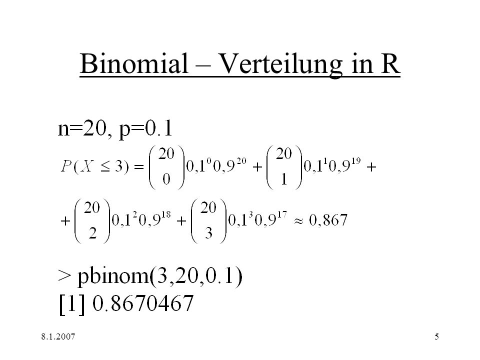 8.1.20075 Binomial – Verteilung in R