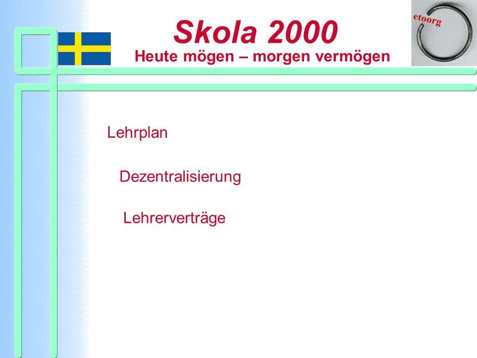 Skola 2000 Heute mögen – morgen vermögen Lehrplan Dezentralisierung Lehrerverträge
