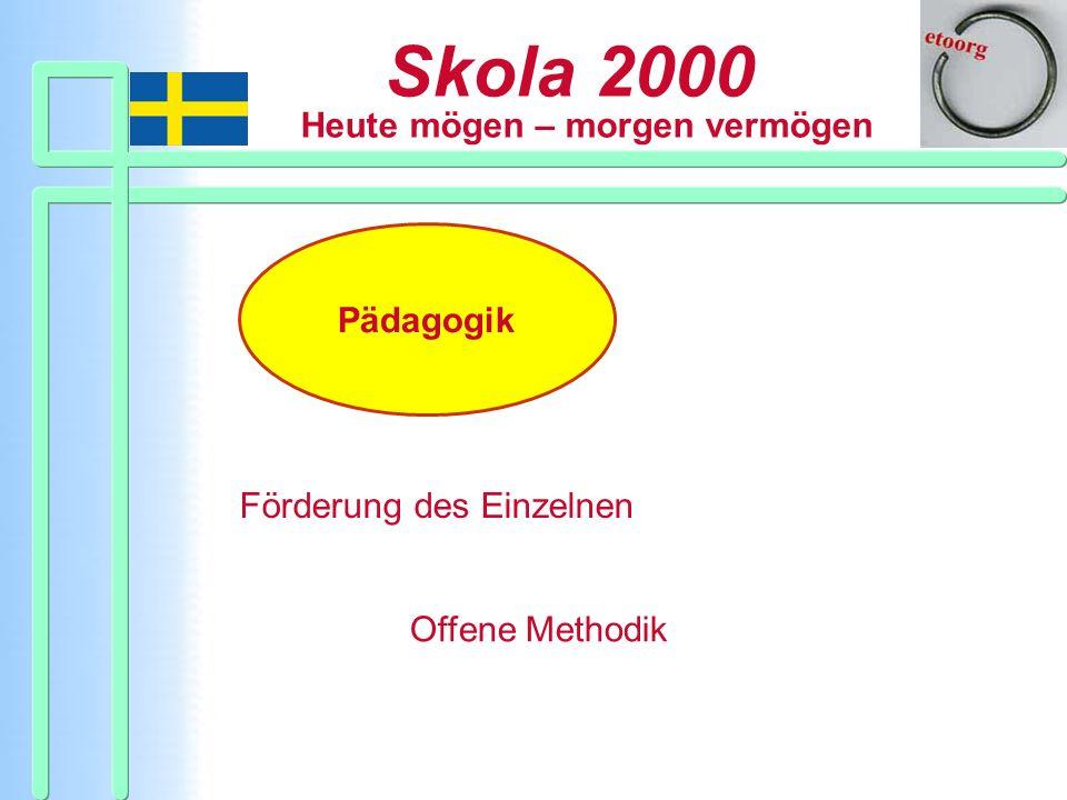 Skola 2000 Heute mögen – morgen vermögen Organisation Gemeinsame Institutionen Arbeitseinheit mit Lehrerteam