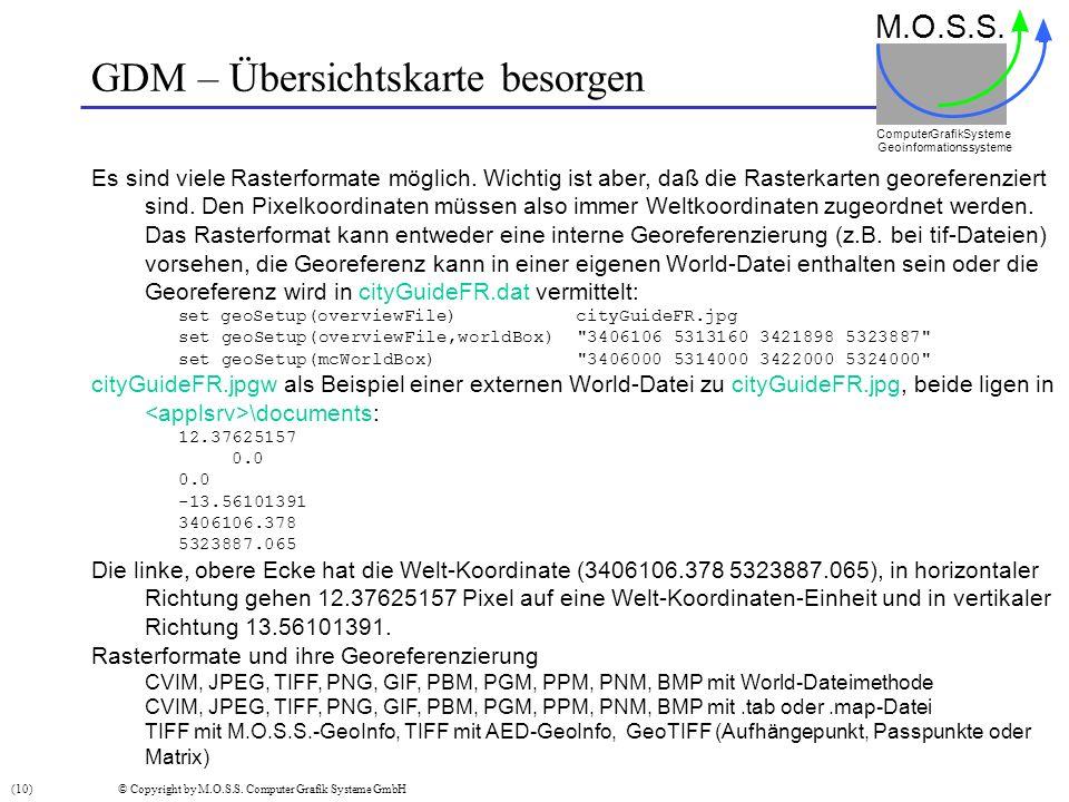 GDM – Übersichtskarte besorgen M.O.S.S. Computer GrafikSysteme Geoinformationssysteme Es sind viele Rasterformate möglich. Wichtig ist aber, daß die R