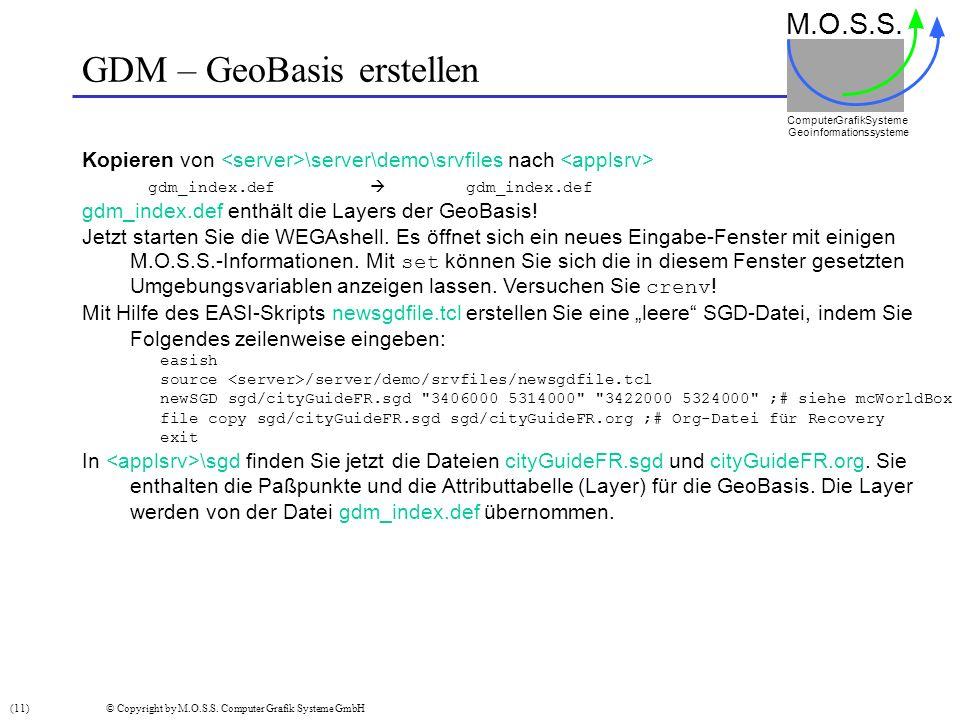 GDM – GeoBasis erstellen M.O.S.S. Computer GrafikSysteme Geoinformationssysteme Kopieren von \server\demo\srvfiles nach gdm_index.def gdm_index.def gd