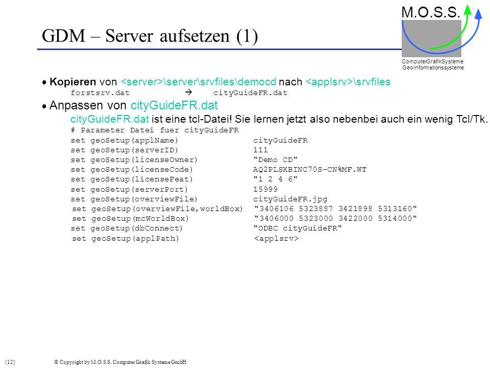 GDM – Server aufsetzen (1) M.O.S.S. Computer GrafikSysteme Geoinformationssysteme Kopieren von \server\srvfiles\democd nach \srvfiles forstsrv.dat cit