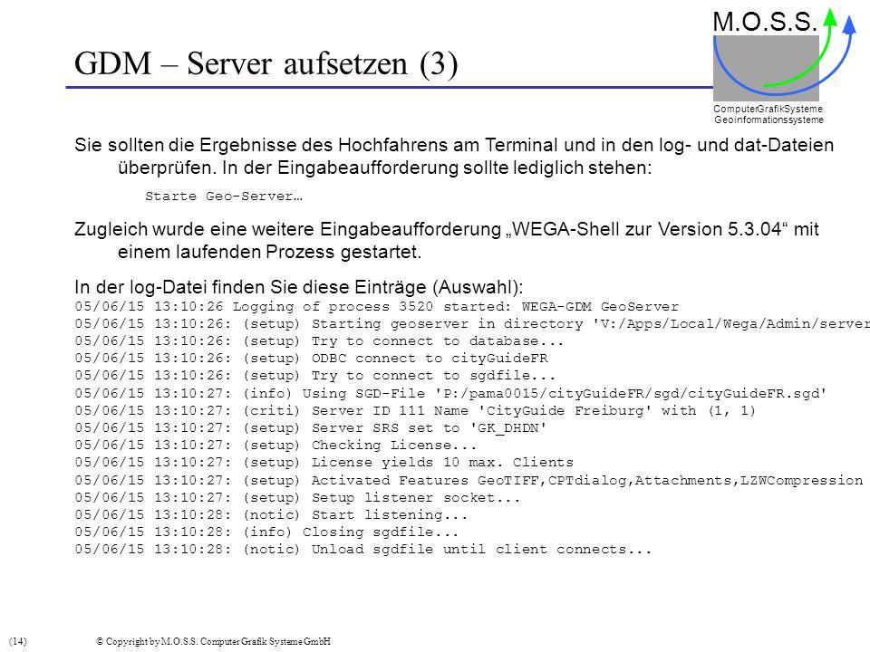 GDM – Server aufsetzen (3) M.O.S.S. Computer GrafikSysteme Geoinformationssysteme Sie sollten die Ergebnisse des Hochfahrens am Terminal und in den lo