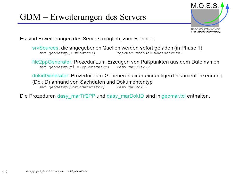 GDM – Erweiterungen des Servers Es sind Erweiterungen des Servers möglich, zum Beispiel: srvSources: die angegebenen Quellen werden sofort geladen (in
