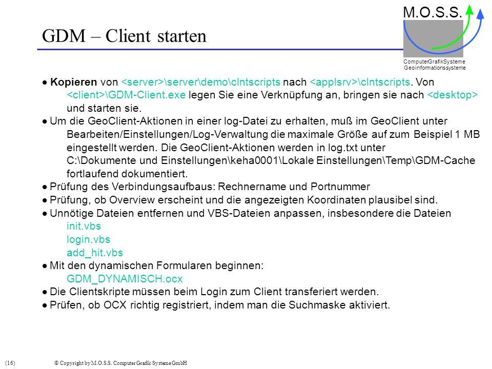 GDM – Client starten M.O.S.S. Computer GrafikSysteme Geoinformationssysteme Kopieren von \server\demo\clntscripts nach \clntscripts. Von \GDM-Client.e