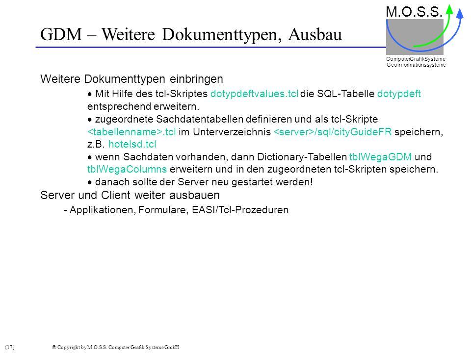 GDM – Weitere Dokumenttypen, Ausbau M.O.S.S. Computer GrafikSysteme Geoinformationssysteme Weitere Dokumenttypen einbringen Mit Hilfe des tcl-Skriptes