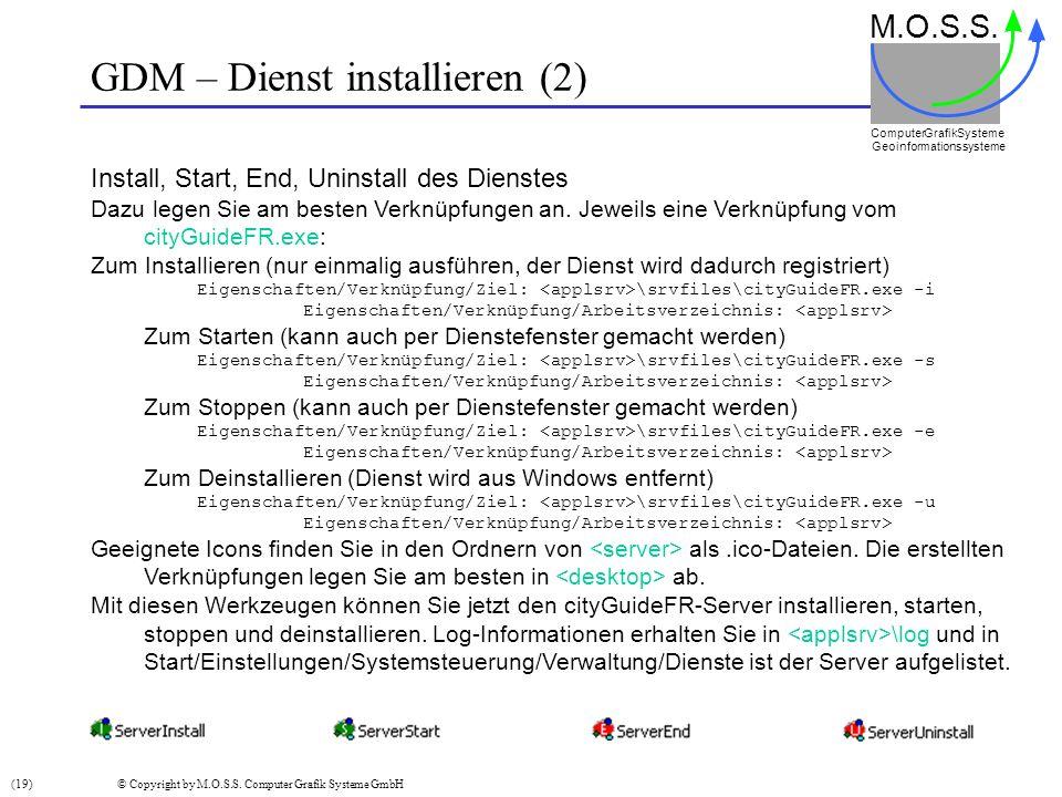 GDM – Dienst installieren (2) M.O.S.S. Computer GrafikSysteme Geoinformationssysteme Install, Start, End, Uninstall des Dienstes Dazu legen Sie am bes