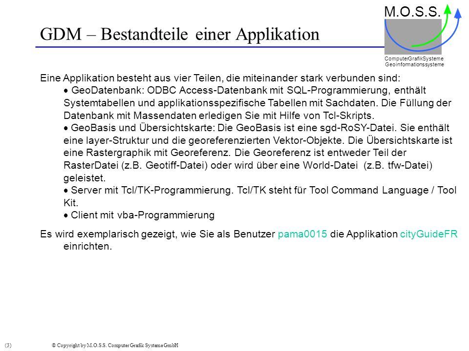 GDM – Bestandteile einer Applikation M.O.S.S. Computer GrafikSysteme Geoinformationssysteme (3) © Copyright by M.O.S.S. Computer Grafik Systeme GmbH E