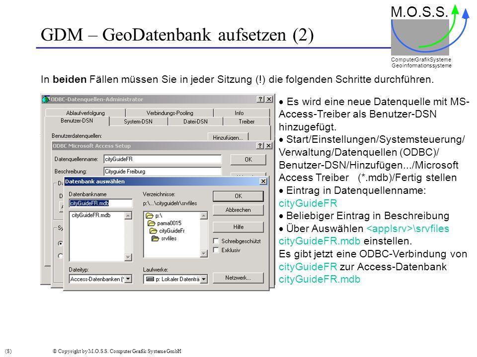 GDM – GeoDatenbank aufsetzen (2) In beiden Fällen müssen Sie in jeder Sitzung (!) die folgenden Schritte durchführen. M.O.S.S. Computer GrafikSysteme