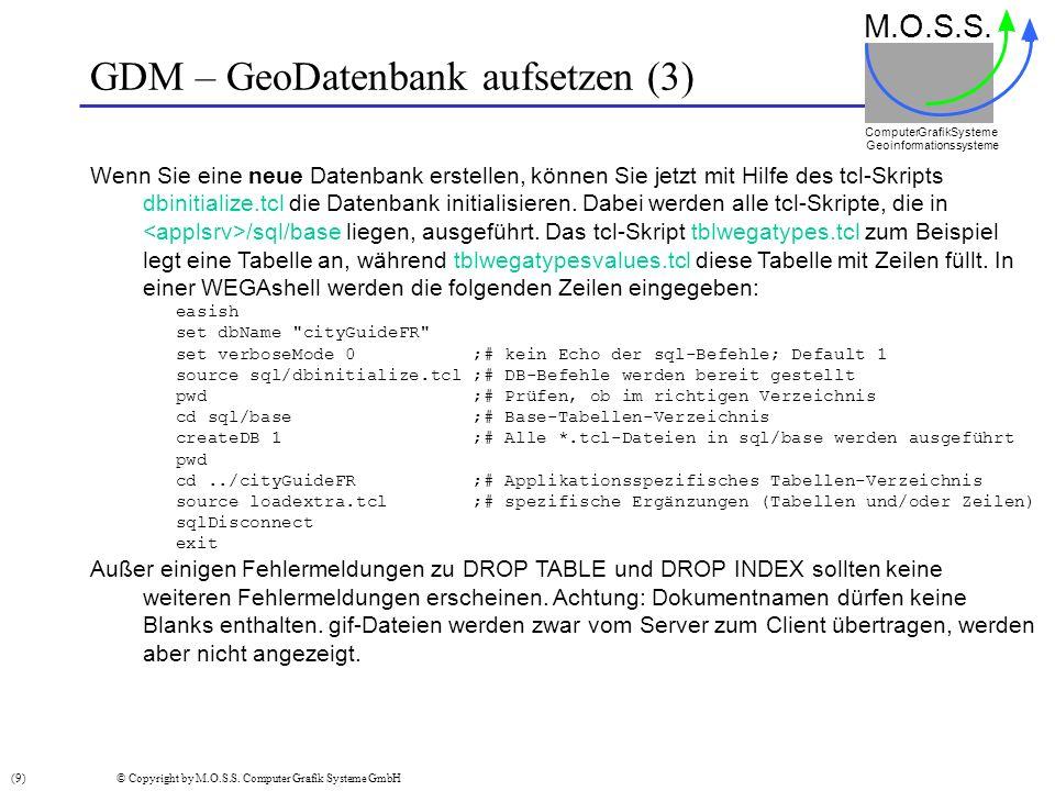 GDM – GeoDatenbank aufsetzen (3) M.O.S.S. Computer GrafikSysteme Geoinformationssysteme Wenn Sie eine neue Datenbank erstellen, können Sie jetzt mit H