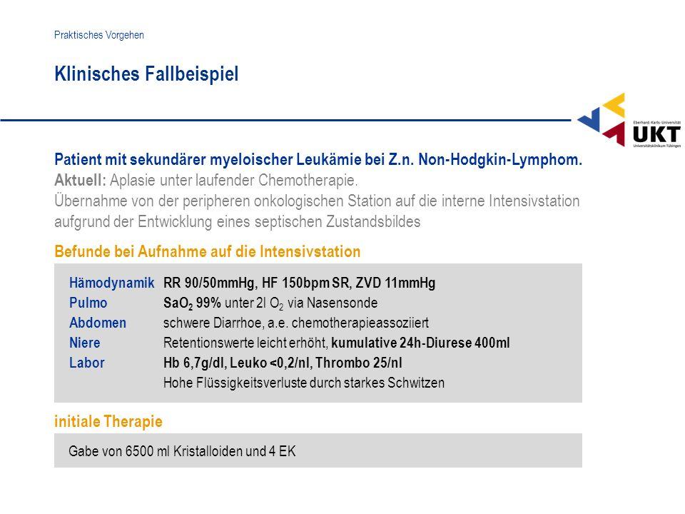 Patient mit sekundärer myeloischer Leukämie bei Z.n. Non-Hodgkin-Lymphom. Aktuell: Aplasie unter laufender Chemotherapie. Übernahme von der peripheren