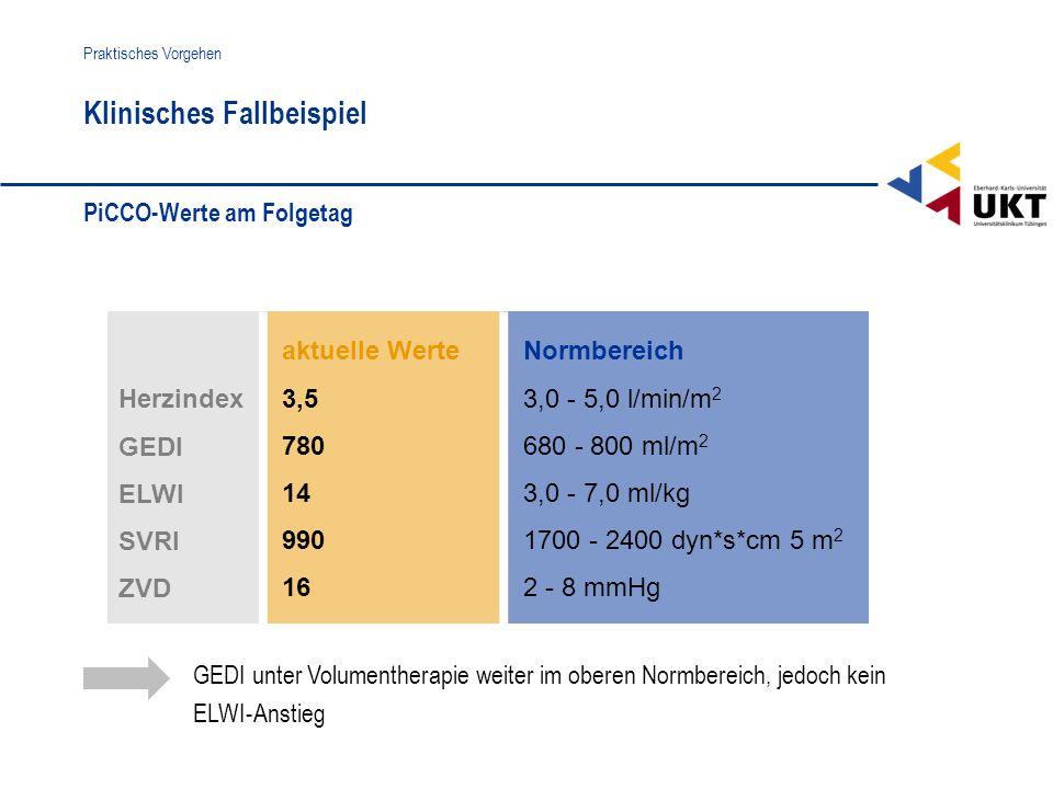 aktuelle Werte 3,5 780 14 990 16 Normbereich 3,0 - 5,0 l/min/m 2 680 - 800 ml/m 2 3,0 - 7,0 ml/kg 1700 - 2400 dyn*s*cm 5 m 2 2 - 8 mmHg Herzindex GEDI