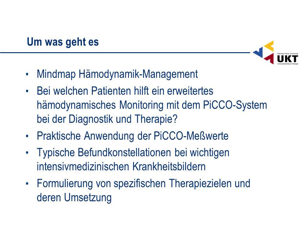 Um was geht es Mindmap Hämodynamik-Management Bei welchen Patienten hilft ein erweitertes hämodynamisches Monitoring mit dem PiCCO-System bei der Diag