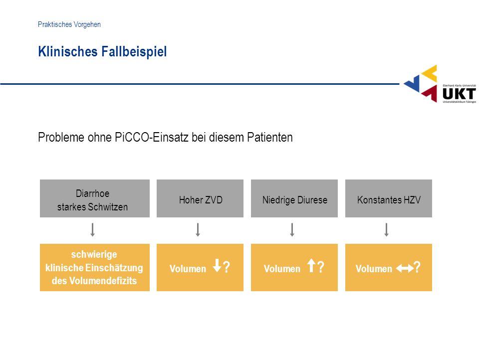 Volumen ? Klinisches Fallbeispiel Praktisches Vorgehen Probleme ohne PiCCO-Einsatz bei diesem Patienten Diarrhoe starkes Schwitzen schwierige klinisch