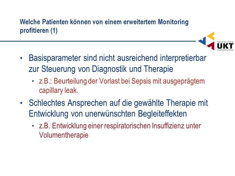 Welche Patienten können von einem erweitertem Monitoring profitieren (1) Basisparameter sind nicht ausreichend interpretierbar zur Steuerung von Diagn