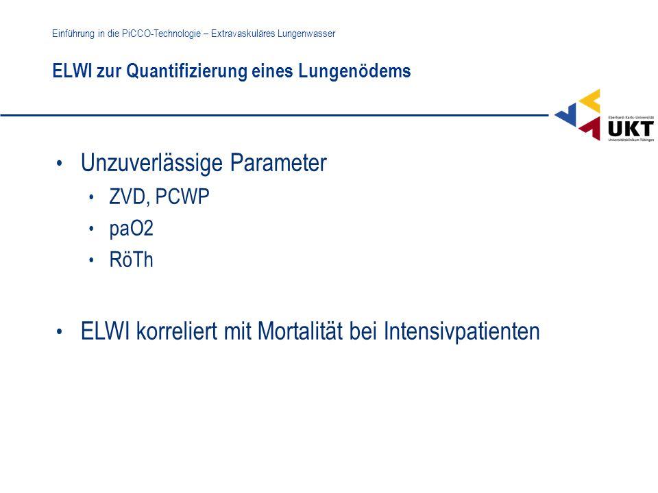 ELWI zur Quantifizierung eines Lungenödems Einführung in die PiCCO-Technologie – Extravaskuläres Lungenwasser Unzuverlässige Parameter ZVD, PCWP paO2