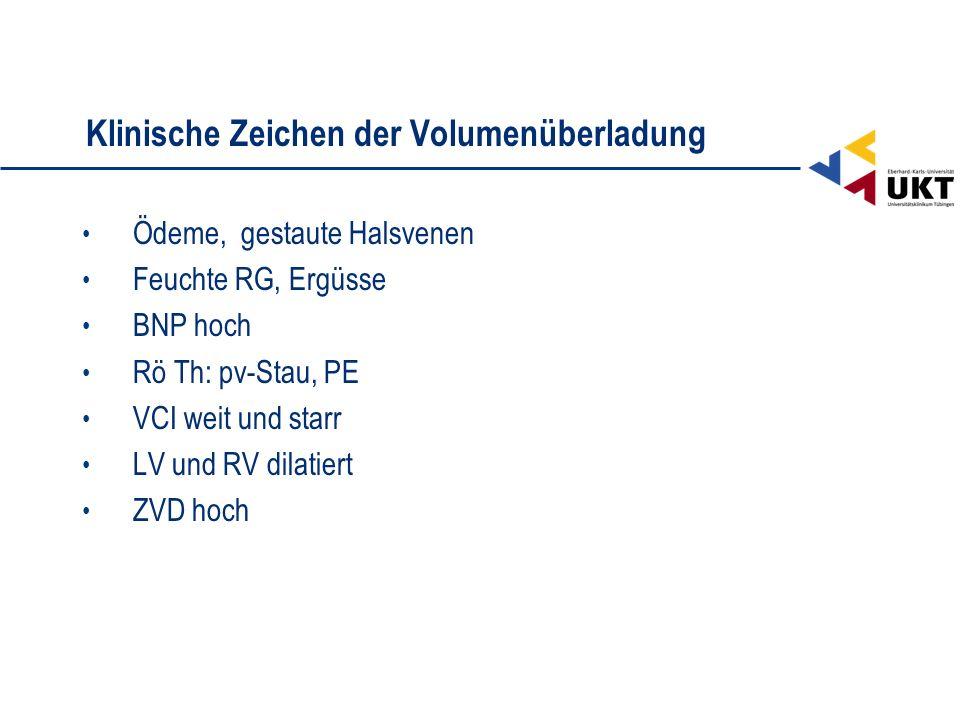 Klinische Zeichen der Volumenüberladung Ödeme, gestaute Halsvenen Feuchte RG, Ergüsse BNP hoch Rö Th: pv-Stau, PE VCI weit und starr LV und RV dilatie