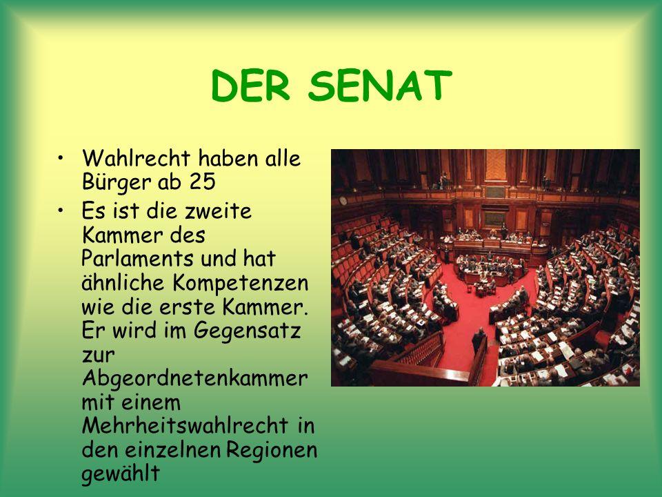 DER SENAT Wahlrecht haben alle Bürger ab 25 Es ist die zweite Kammer des Parlaments und hat ähnliche Kompetenzen wie die erste Kammer. Er wird im Gege