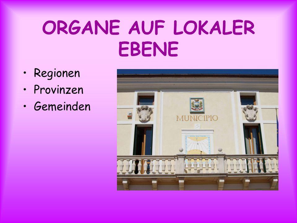 ORGANE AUF LOKALER EBENE Regionen Provinzen Gemeinden