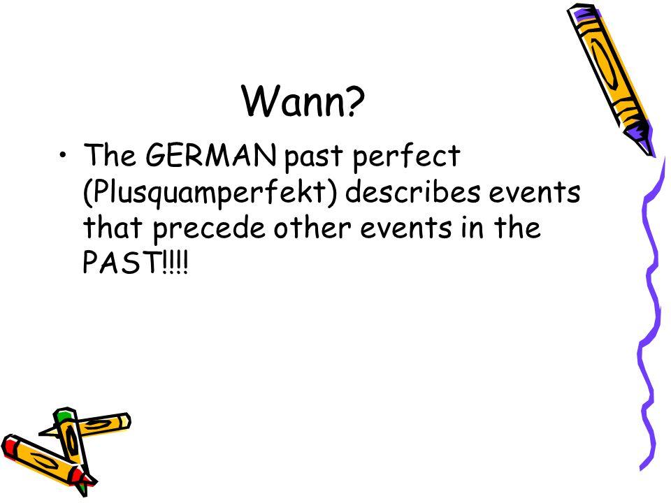 FORM: IMPERFEKT von haben oder sein + PARTIZIP (gegangen, gemacht, gelaufen, gespielt etc.)