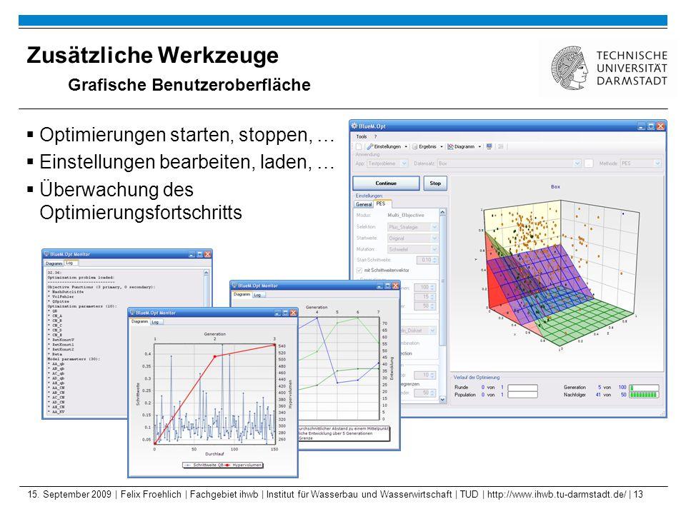15. September 2009 | Felix Froehlich | Fachgebiet ihwb | Institut für Wasserbau und Wasserwirtschaft | TUD | http://www.ihwb.tu-darmstadt.de/ | 13 Zus