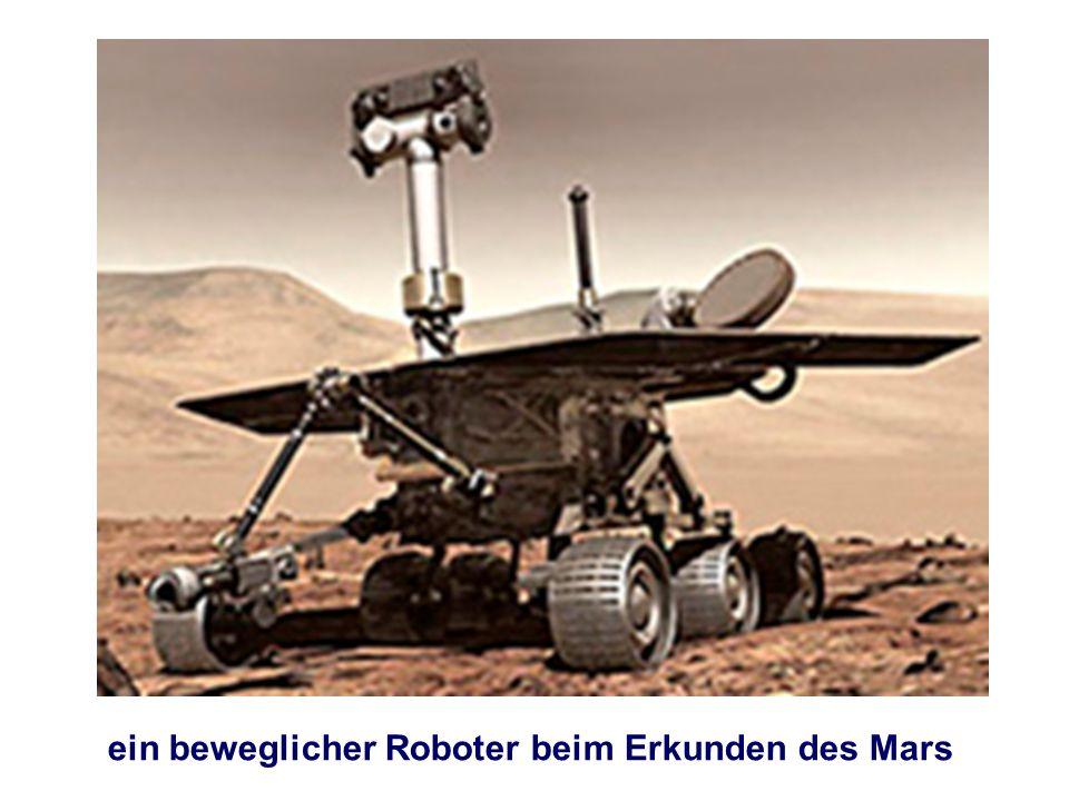 ein beweglicher Roboter beim Erkunden des Mars