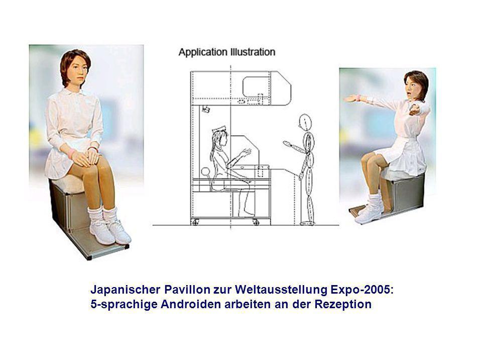 Japanischer Pavillon zur Weltausstellung Expo-2005: 5-sprachige Androiden arbeiten an der Rezeption