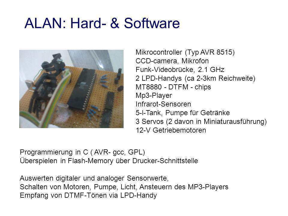 Mikrocontroller (Typ AVR 8515) CCD-camera, Mikrofon Funk-Videobrücke, 2.1 GHz 2 LPD-Handys (ca 2-3km Reichweite) MT8880 - DTFM - chips Mp3-Player Infrarot-Sensoren 5-l-Tank, Pumpe für Getränke 3 Servos (2 davon in Miniaturausführung) 12-V Getriebemotoren Programmierung in C ( AVR- gcc, GPL) Überspielen in Flash-Memory über Drucker-Schnittstelle Auswerten digitaler und analoger Sensorwerte, Schalten von Motoren, Pumpe, Licht, Ansteuern des MP3-Players Empfang von DTMF-Tönen via LPD-Handy ALAN: Hard- & Software