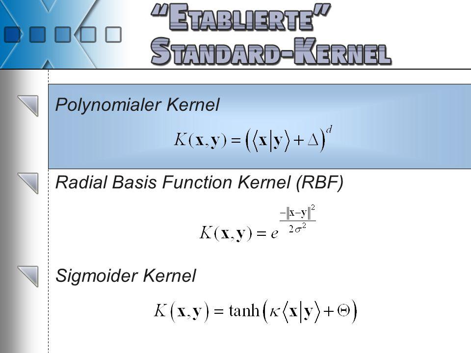 Polynomialer Kernel Radial Basis Function Kernel (RBF) Sigmoider Kernel