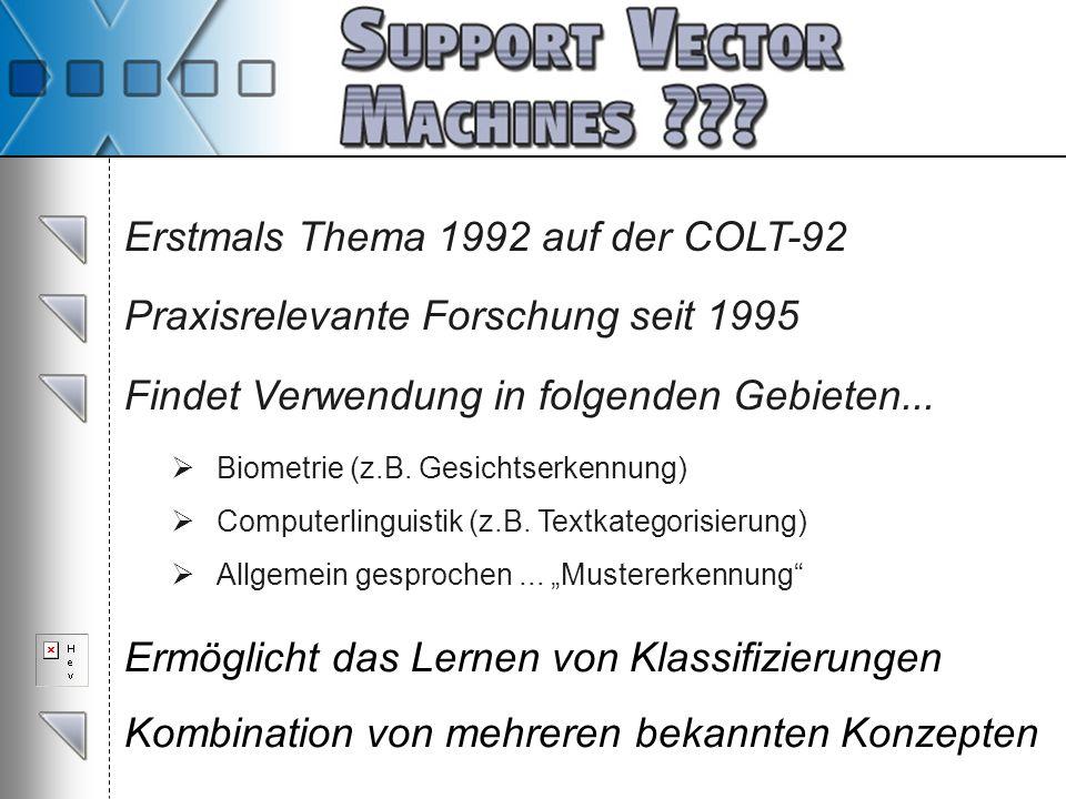 Erstmals Thema 1992 auf der COLT-92 Praxisrelevante Forschung seit 1995 Findet Verwendung in folgenden Gebieten... Biometrie (z.B. Gesichtserkennung)
