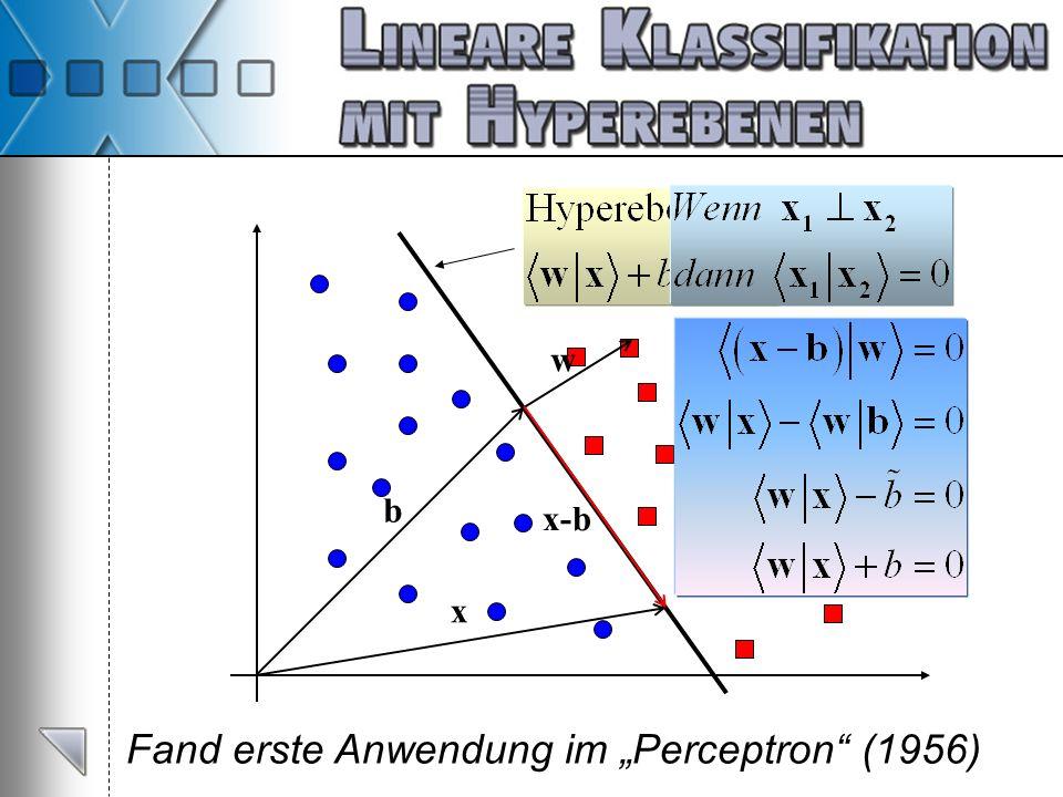 Fand erste Anwendung im Perceptron (1956) w x b x-b