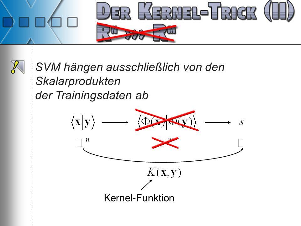 SVM hängen ausschließlich von den Skalarprodukten der Trainingsdaten ab Kernel-Funktion
