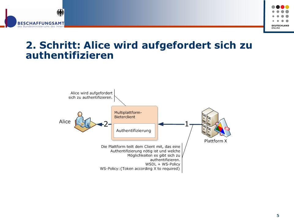 2. Schritt: Alice wird aufgefordert sich zu authentifizieren 5