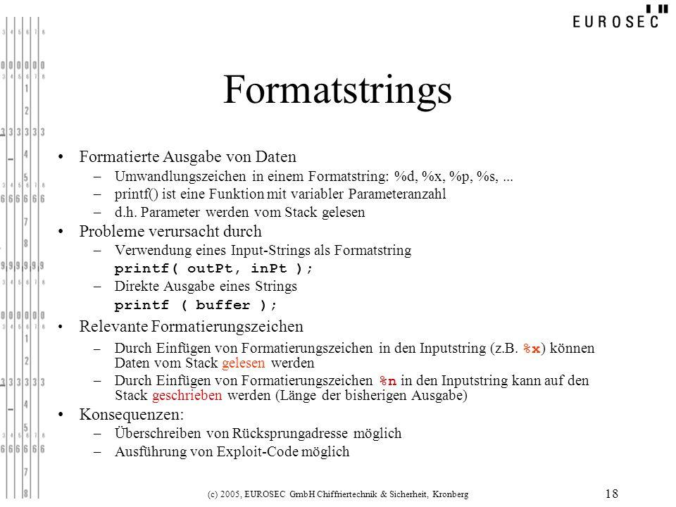 (c) 2005, EUROSEC GmbH Chiffriertechnik & Sicherheit, Kronberg 18 Formatstrings Formatierte Ausgabe von Daten –Umwandlungszeichen in einem Formatstrin