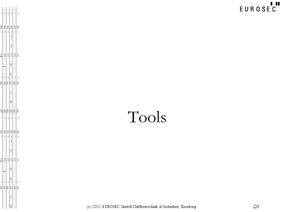 (c) 2005, EUROSEC GmbH Chiffriertechnik & Sicherheit, Kronberg 20 Tools
