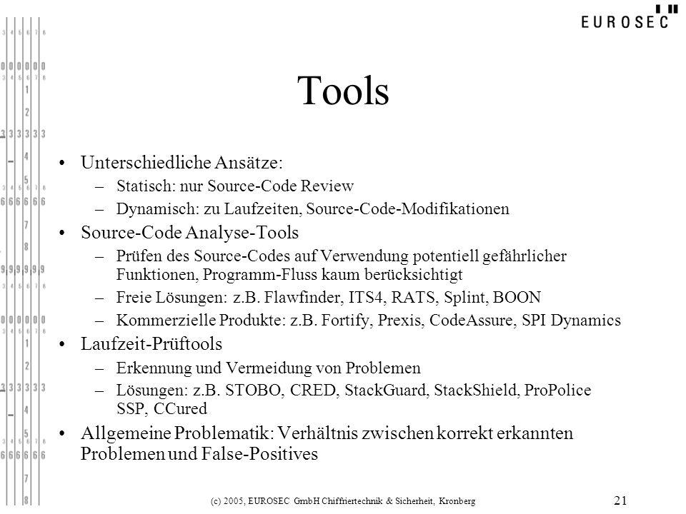(c) 2005, EUROSEC GmbH Chiffriertechnik & Sicherheit, Kronberg 21 Tools Unterschiedliche Ansätze: –Statisch: nur Source-Code Review –Dynamisch: zu Lau