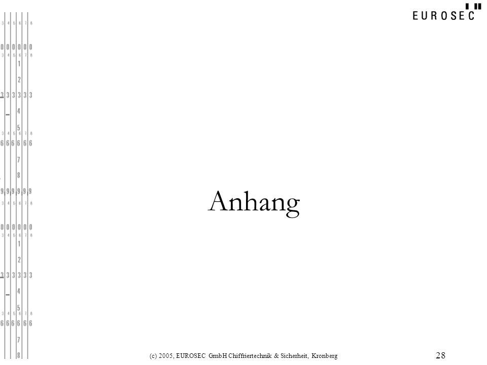 (c) 2005, EUROSEC GmbH Chiffriertechnik & Sicherheit, Kronberg 28 Anhang