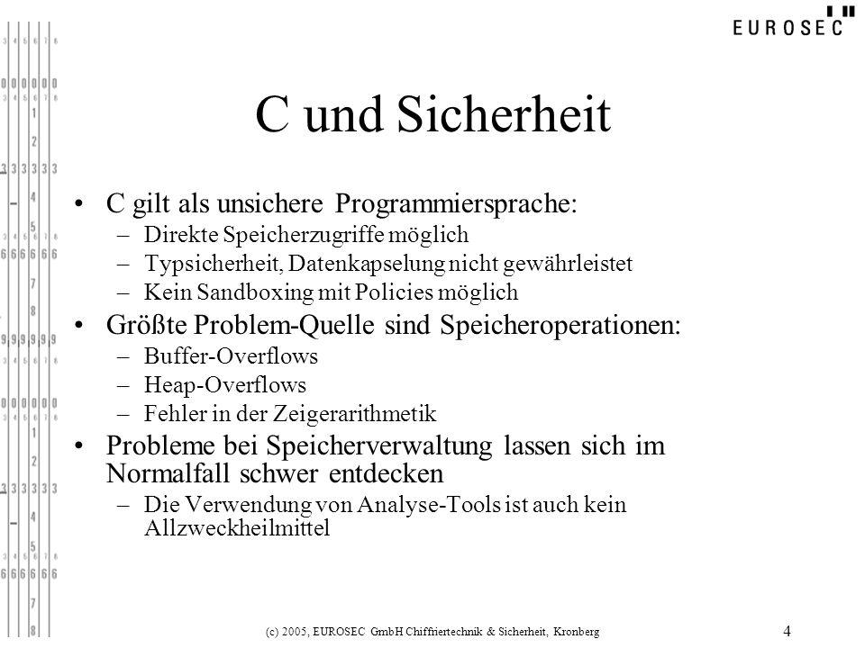 (c) 2005, EUROSEC GmbH Chiffriertechnik & Sicherheit, Kronberg 4 C und Sicherheit C gilt als unsichere Programmiersprache: –Direkte Speicherzugriffe m