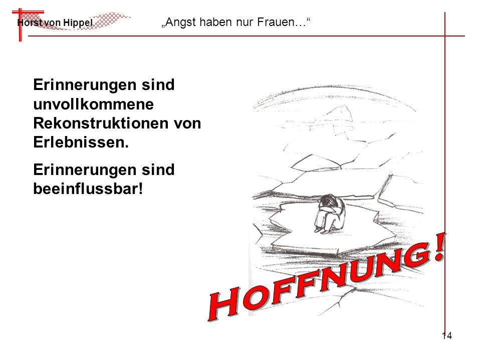 14 Horst von Hippel Angst haben nur Frauen… Erinnerungen sind unvollkommene Rekonstruktionen von Erlebnissen. Erinnerungen sind beeinflussbar!