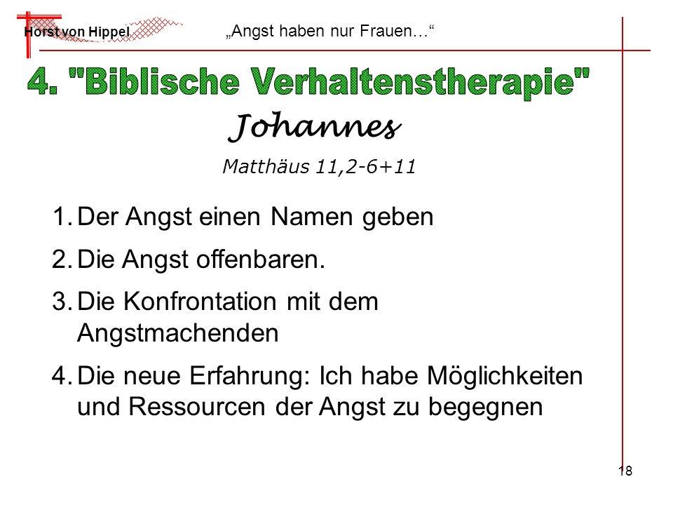 18 Horst von Hippel Angst haben nur Frauen… Johannes Matthäus 11,2-6+11 1.Der Angst einen Namen geben 2.Die Angst offenbaren. 3.Die Konfrontation mit