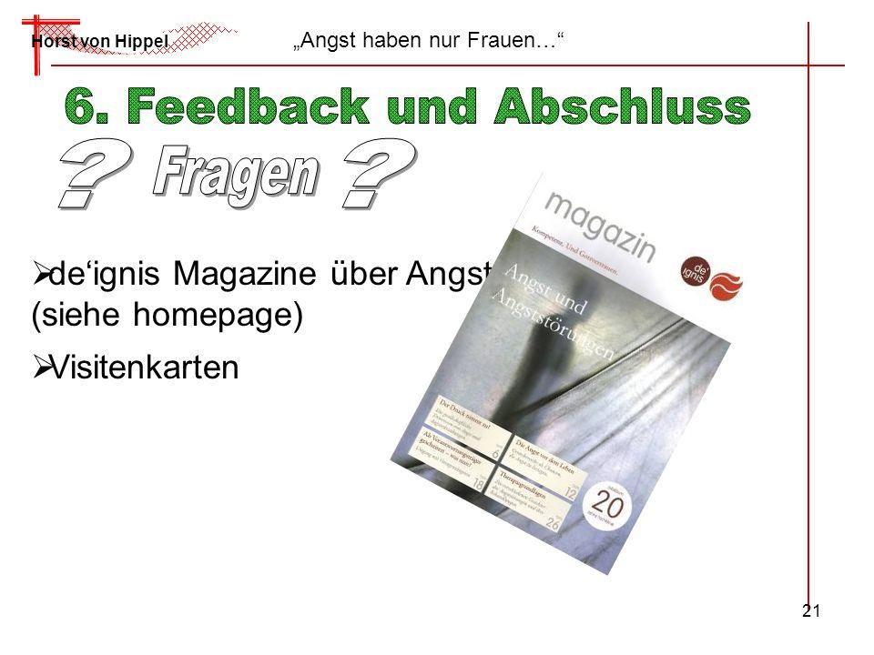 21 Horst von Hippel Angst haben nur Frauen… deignis Magazine über Angst (siehe homepage) Visitenkarten