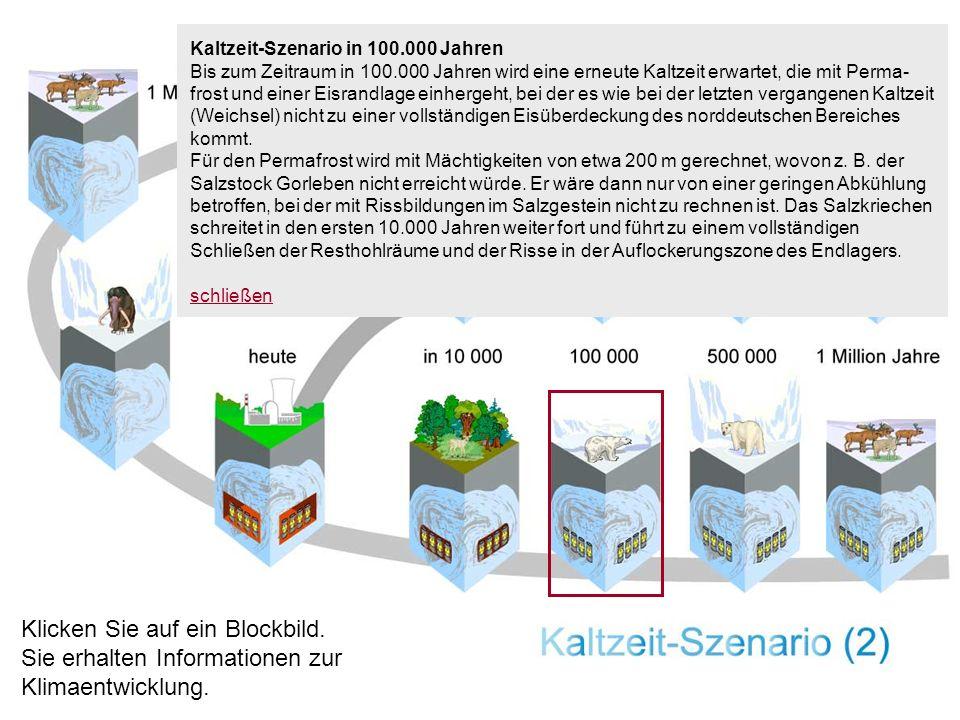 Kaltzeit-Szenario in 100.000 Jahren Bis zum Zeitraum in 100.000 Jahren wird eine erneute Kaltzeit erwartet, die mit Perma- frost und einer Eisrandlage