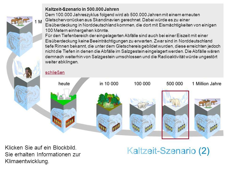 Kaltzeit-Szenario in 500.000 Jahren Dem 100.000 Jahreszyklus folgend wird ab 500.000 Jahren mit einem erneuten Gletschervorrücken aus Skandinavien ger