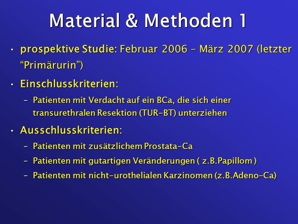 Material & Methoden 2 Kontrollgruppen:Kontrollgruppen: –BPH-Patienten –Cystitis-Patienten –Gesunde