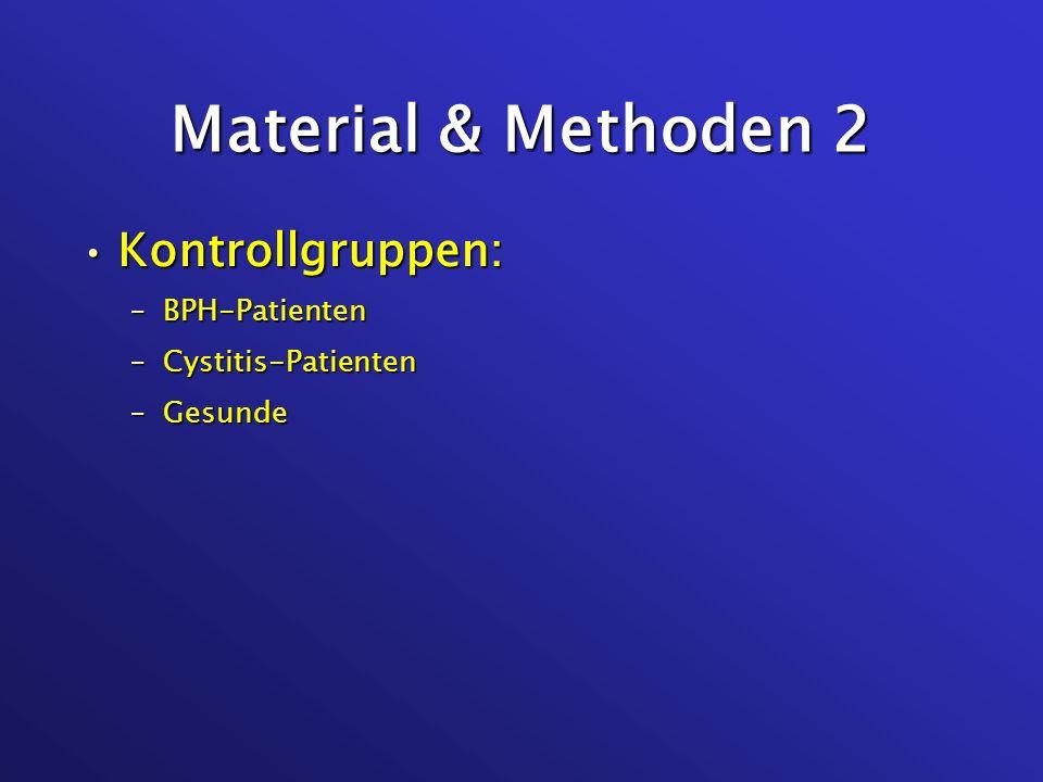 Material & Methoden 3 BCa-Patienten:BCa-Patienten: –prä-operative Urinprobe –intra-operatives Gewebe (Tumor & optisch gesunde Blasenmucosa) –post-operative Urinprobe (bis 11/06) für prim./sek./tert.